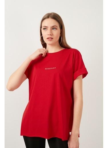 Lela Lela Bisiklet Yaka Kadın T Shirt 5411068 Kırmızı
